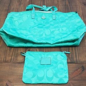 Coach Signature Turquoise Weekender Packable Bag